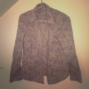 Floral blouse tan pink and purple